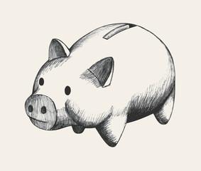 Sketch illustration of piggy bank