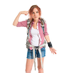 backpacker making crazy gesture over white background