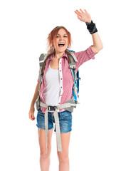 backpacker saluting over white background