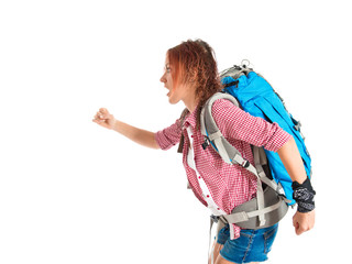 backpacker running fast over white background