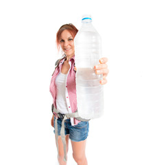 backpacker with water over white background