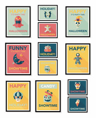 Halloween poster banner design flat background set, eps10