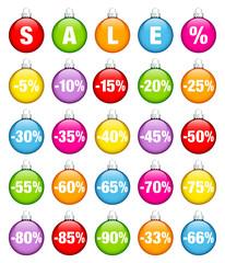 "Colored Christmas Balls ""SALE"" Minus Percentsign"