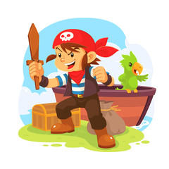 Pirate Boy. Illustration of pirate boy in action pose.