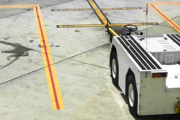 electric aircraft tug at an airport