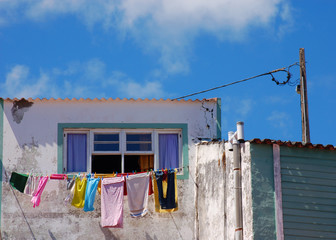 colored cloths hung out to dry at Azores islands