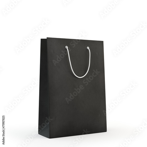 Black paper bag  , isolated - 71987825