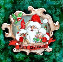 Santa Christmas vintage greeting card