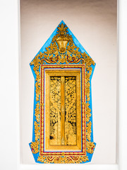 Window golden painting frame with wooden gold painting panel.