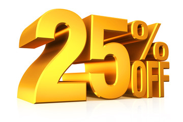 3D render gold text 25 percent off.