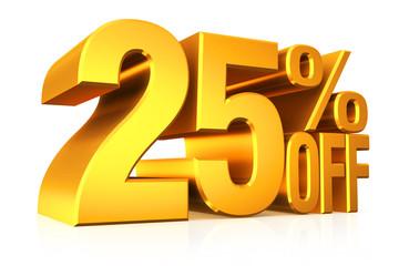 3D render gold text 25 percent off.
