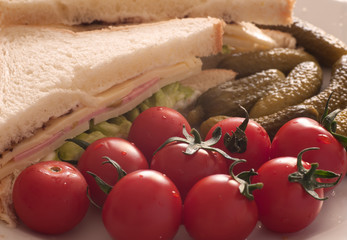 Close up of a sandwich with tomato and pickles