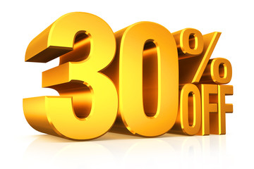3D render gold text 30 percent off.