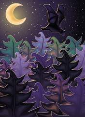 Night background with forest bat, vector illustration
