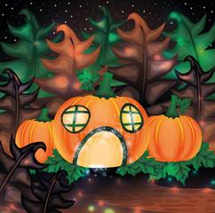 Halloween night background with pumpkin house, vector