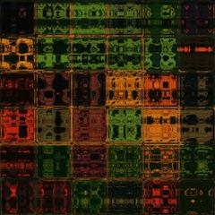 Orange and green shining through glass bricks