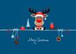 Card Christmas Reindeer Gift & Symbols Blue