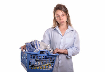 woman with a laundry basket for ironing