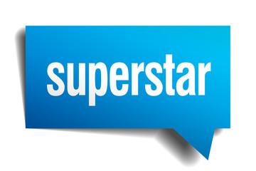 superstar blue 3d realistic paper speech bubble