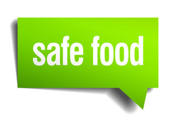 safe food green 3d realistic paper speech bubble