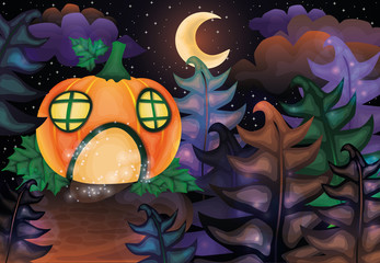 Halloween night card with pumpkin castle and moon, vector