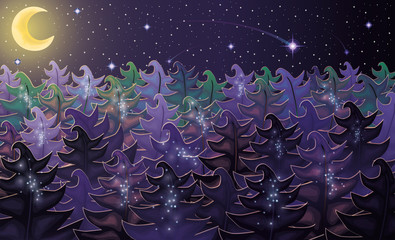 Night forest background, vector illustration