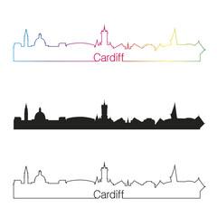 Cardiff skyline linear style with rainbow