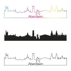 Aberdeen skyline linear style with rainbow