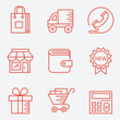 Shopping icons – thin line style, modern flat design
