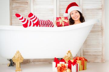 Santa girl having fun at home