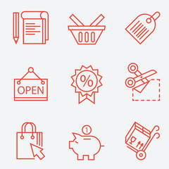 Thin line icons for shopping, finance - modern flat design