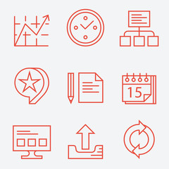 Thin line icons for web and business -  modern flat design