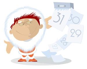 Santa Claus breaks the calendar pages
