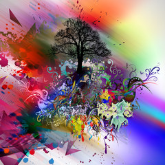 яркий абстрактный фон с природой