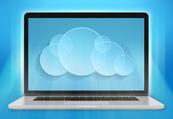 laptop computer and a cloud storage on blue background.