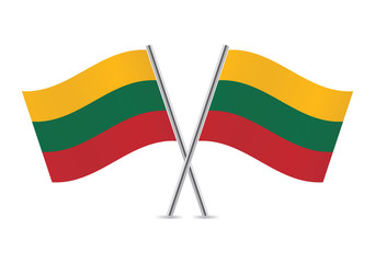 Lithuanian flags. Vector illustration.