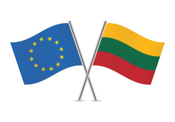 Lithuanian and European Union flags. Vector illustration.