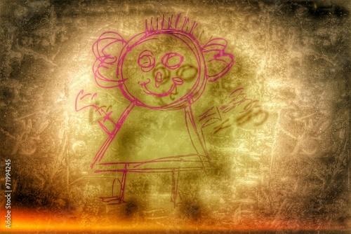 canvas print picture weiblich lachende Personensilhouette...