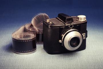 Old fashioned camera and film, studio