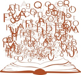 Silhouette of an open book and flying letters