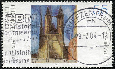 stamp printed in the Germany shows Halle Market Church