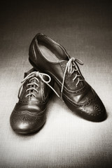 Pair of brogues in studio