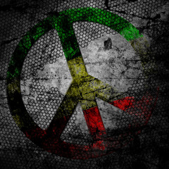 Peace sign rasta grunge background textured on concrete wall