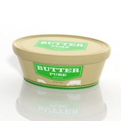 3D butter plastic container isolated on white
