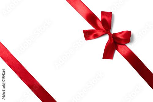 Shiny red satin ribbon on white background - 71995264