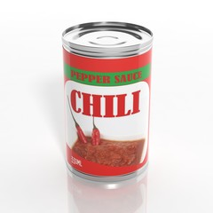 3D chili sauce metallic can isolated on white