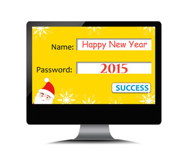 Happy new year on computer screen
