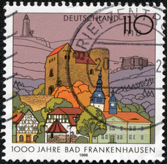 stamp printed in the Germany shows Town of Bad Frankenhausen