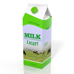 3D diet milk carton box isolated on white