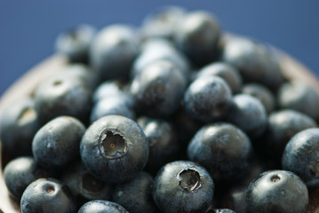 close up of fresh wet blueberries